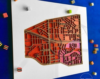 Chadstone 3148, Victoria. Laser cut, street map, wall decoration.
