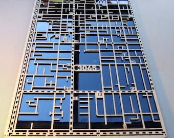 Fitzroy 3065, Victoria.. Superb, laser cut suburb map decoration in MDF & coloured acrylic.