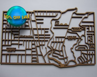 20% off North Coburg 3058, Victoria. Laser cut, street map, wall decoration in 6mm MDF.