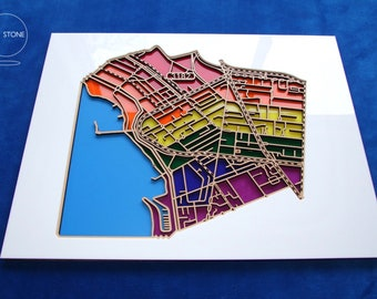 St Kilda, 3182.  Superb, laser cut, suburb map in rainbow acrylic