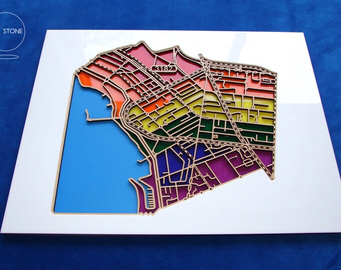 Featured listing image: St Kilda, 3182, Victoria. Superb, laser cut, suburb map decoration in MDF