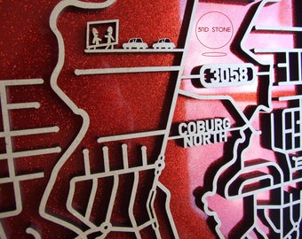 North Coburg 3058, Victoria. Laser cut, street map, wall decoration in MDF & coloured acrylics.