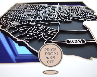 25% OFF this incredible laser cut map of Rye 3941 in frosted white acrylic.