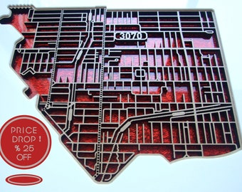 25% OFF this shimmering, laser cut map of Northcote, Victoria with red fabric infused acrylic.
