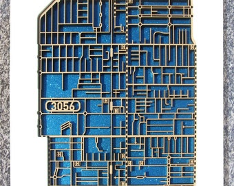Brunswick 3056, Laser cut, street map, wall decoration in MDF & coloured acrylics.