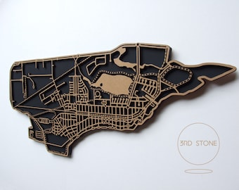 Altona 3018, Victoria. Laser cut, street map, wall decoration in MDF & coloured acrylics.