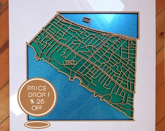 25% OFF this sparkling, laser-cut map of Blairgowrie 3942. VIC.