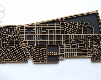 Glenroy 3046, Victoria. Laser cut, street map, wall decoration in MDF & coloured acrylics.