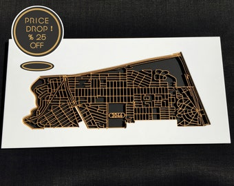 25% OFF this intricate laser cut map of Glenroy 3046, Victoria.