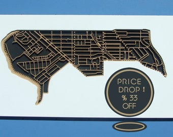 33% OFF this handsome, laser cut map of Ascot Vale 3032, Victoria.