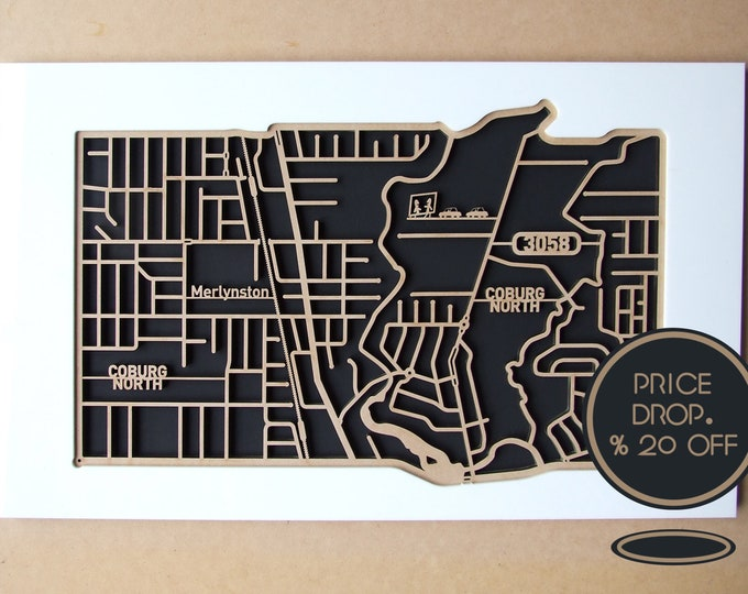 Featured listing image: 20% off North Coburg 3058, Victoria. Laser cut, street map, wall decoration in 6mm MDF.