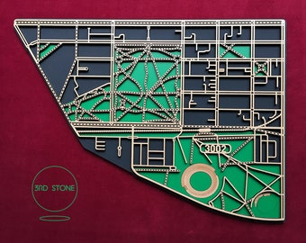 East Melbourne 3002. Superb, laser cut wall decoration in painted black & green MDF.