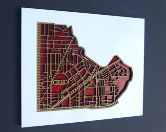 North Fitzroy / Clifton Hill 3068, Victoria. Laser cut, street map, wall decoration.