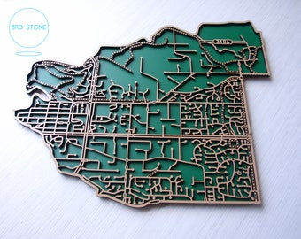 Templestowe 3106, Victoria. Laser cut, street map, wall decoration in MDF & coloured acrylics.