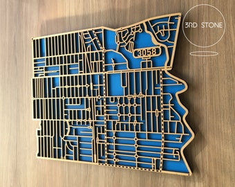 Coburg 3058, Victoria. Laser cut, street map, wall decoration in MDF & coloured acrylics.