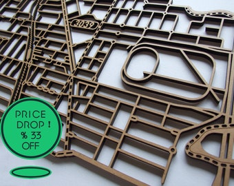 33% 0ff!! Moonee Ponds, Victoria. Laser cut, street map, wall decoration in 6mm MDF.