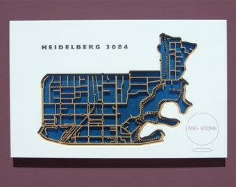 Heidelberg 3084, Victoria. Laser cut, street map, wall decoration in MDF & coloured acrylics.