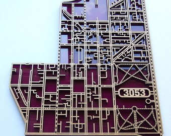 Carlton 3053, Victoria. Laser cut, street map, wall decoration in MDF & coloured acrylics.