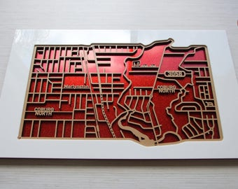 North Coburg 3058, Victoria. Laser cut, street map, wall decoration.