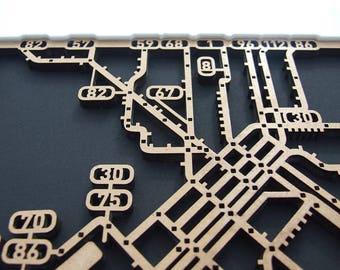 Melbourne Tram Network. Laser cut, street map, wall decoration with white surround in MDF & coloured acrylics.