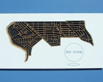 Ascot Vale 3032, Victoria. Laser cut, street map, wall decoration in MDF & coloured acrylics.
