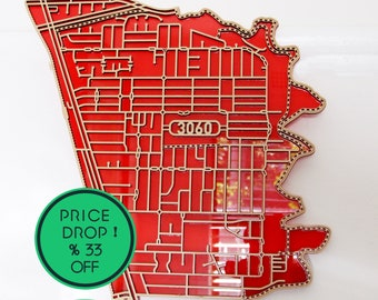 Fawkner 3060, Victoria. Superb laser cut, street map, wall decoration in MDF & coloured acrylics.