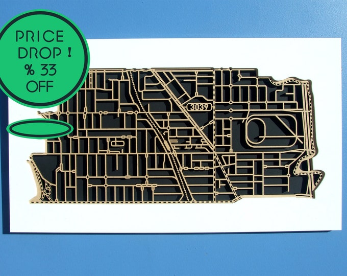 Featured listing image: 33% 0ff!! Moonee Ponds, Victoria. Laser cut, street map, wall decoration in 6mm MDF.