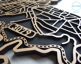 Ivanhoe 3079, Victoria. Laser cut, street map, wall decoration in MDF & coloured acrylics.