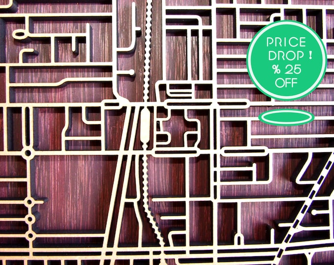 Featured listing image: 25% OFF !! Preston 3072, Victoria. Laser cut, street map, wall decoration in MDF & bamboo.