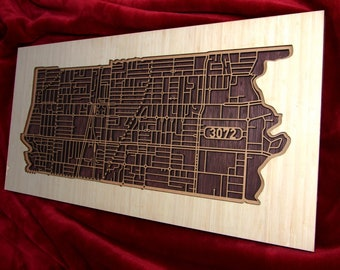 25% OFF !! Preston 3072, Victoria. Laser cut, street map, wall decoration in MDF & bamboo.