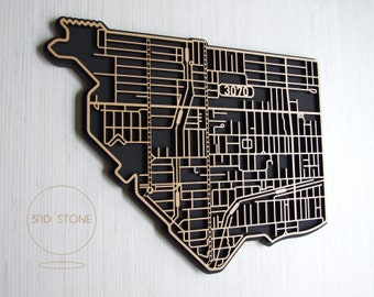 Intricate and interesting, laser cut laser cut map of Northcote, 3070 Victoria.