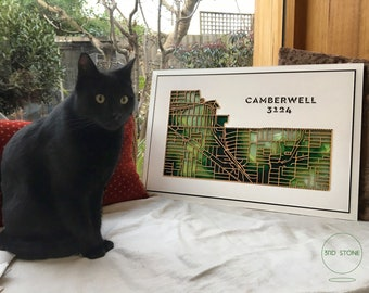 Camberwell 3124, Victoria. BRAND NEW DESIGN! Laser cut, street map, wall decoration.