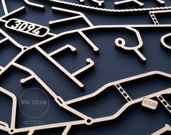 Montmorency, 3049, Victoria. Laser cut, street map, wall decoration in MDF & coloured acrylics.