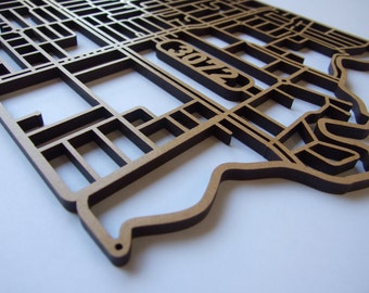 Preston 3072, Victoria. Superb, laser cut, suburb map decoration in MDF & coloured acrylics