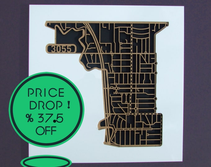 Featured listing image: 37.5% OFF! 160.00  down to 100.00!  1 ONLY! West Brunswick 3055, Victoria. Laser cut, street map, wall decoration.