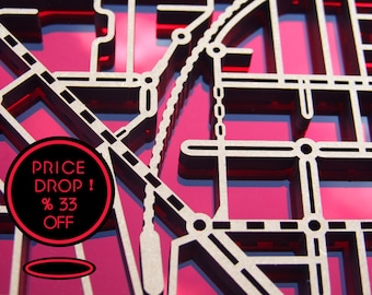33% OFF this magnificent, laser cut, wall decoration map of Essendon in red mirror and black acrylic.