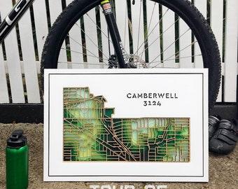 Camberwell 3124, Victoria. BRAND NEW DESIGN! Laser cut, street map, wall decoration.