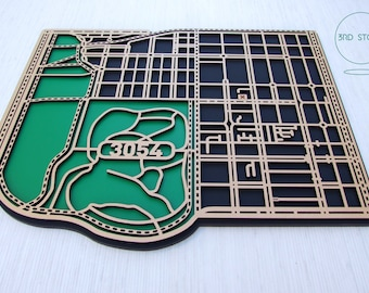 Nth Carlton/Princess Hill 3054, Victoria. Laser cut, street map, wall decoration in MDF & coloured acrylics.