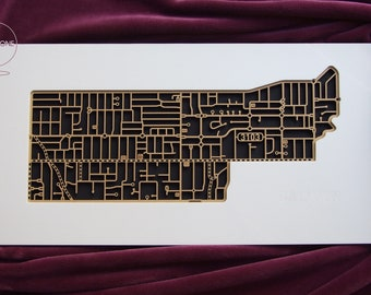 Balwyn / Deepdene 3103, Victoria. Laser cut, street map, wall decoration in MDF & coloured acrylics.