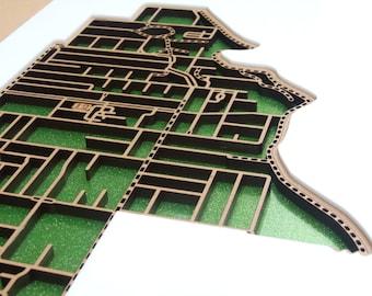 East Brunswick 3057, Victoria. Laser cut, street map, wall decoration.