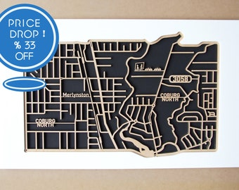 33% OFF!! From 200.00 down to 134.00.  North Coburg 3058, Victoria. Laser cut, street map, wall decoration.