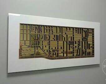 Prahran / Windsor 3181, Victoria. Laser cut, street map, wall decoration.