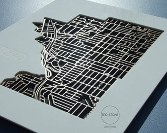 Pascoe Vale 3044. Superb, laser cut wall decoration in MDF, acrylic & matte black backing.