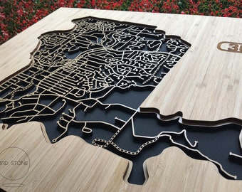 Eltham 3095, Victoria. Laser cut, street map, wall decoration in bamboo ply.