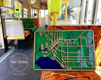 Melbourne Tram Network. Laser cut, street map, wall decoration.