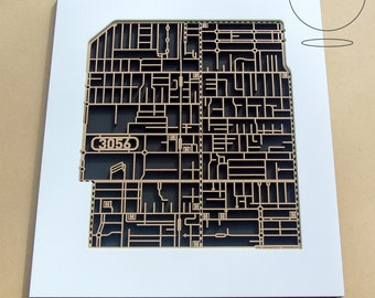 Fantastic laser-cut map Brunswick 3056. Framed.