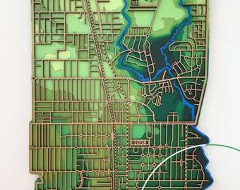 The Coburgs -  Central and North. 3058, Victoria. Laser cut, street map, wall decoration in MDF & coloured acrylics.