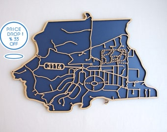 Park Orchards 3114.  33% OFF! 1 ONLY! Laser cut, street map, wall decoration.