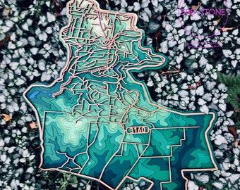 Belgrave (Heights), Tecoma , 3160 Victoria. Laser cut, street map, wall decoration.