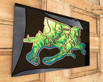 North Warrandyte 3113, Victoria. Laser cut, street map, wall decoration.